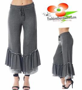 Victorian-Gray-Lagenlook-Ruffle-Wide-Leg-Palazzo-Jersey-Ruffle-Capri-Pants-S-M-L