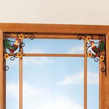 Rooster Metal Doorway Corner Brackets Set 2 Country Charm Hand Painted Home Deco