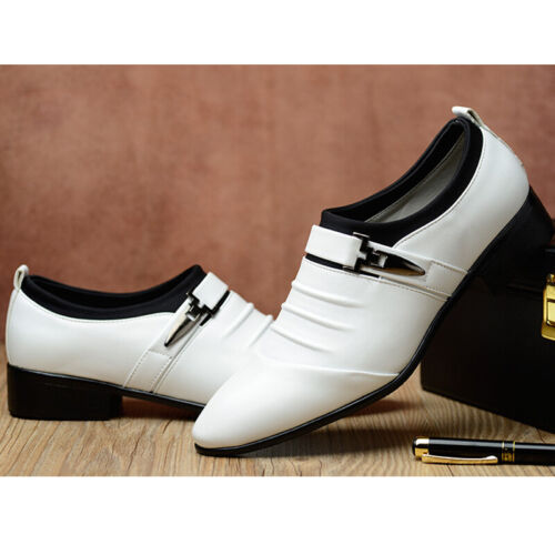 Men Business Leather Slip On Loafers Pumps Dress Formal Shoes Pointed Toe Buckle