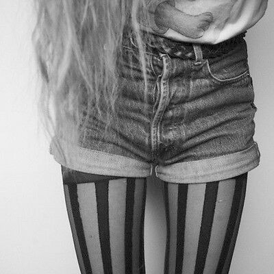 Women Girl Gothic Punk Sexy Vertical Stripe Pantyhose Stockings Tights Black