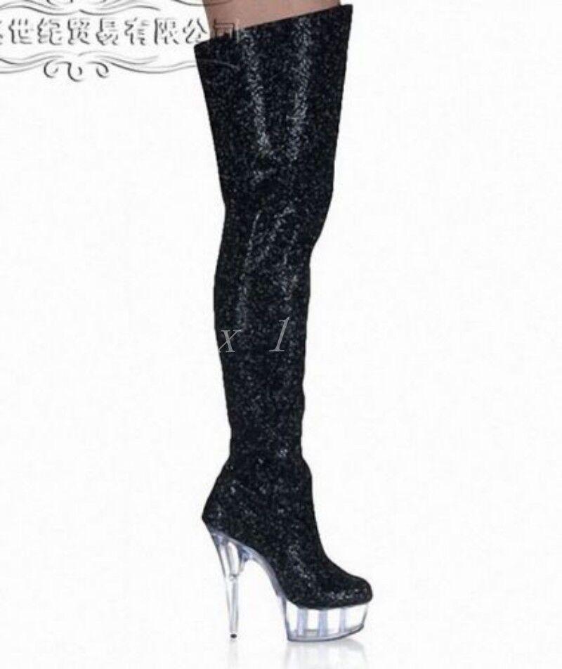 Hot Womens Sequins Platform Ladies Knee High Boots Size Stiletto Stiletto Stiletto shoes Nightclub e8b7f7