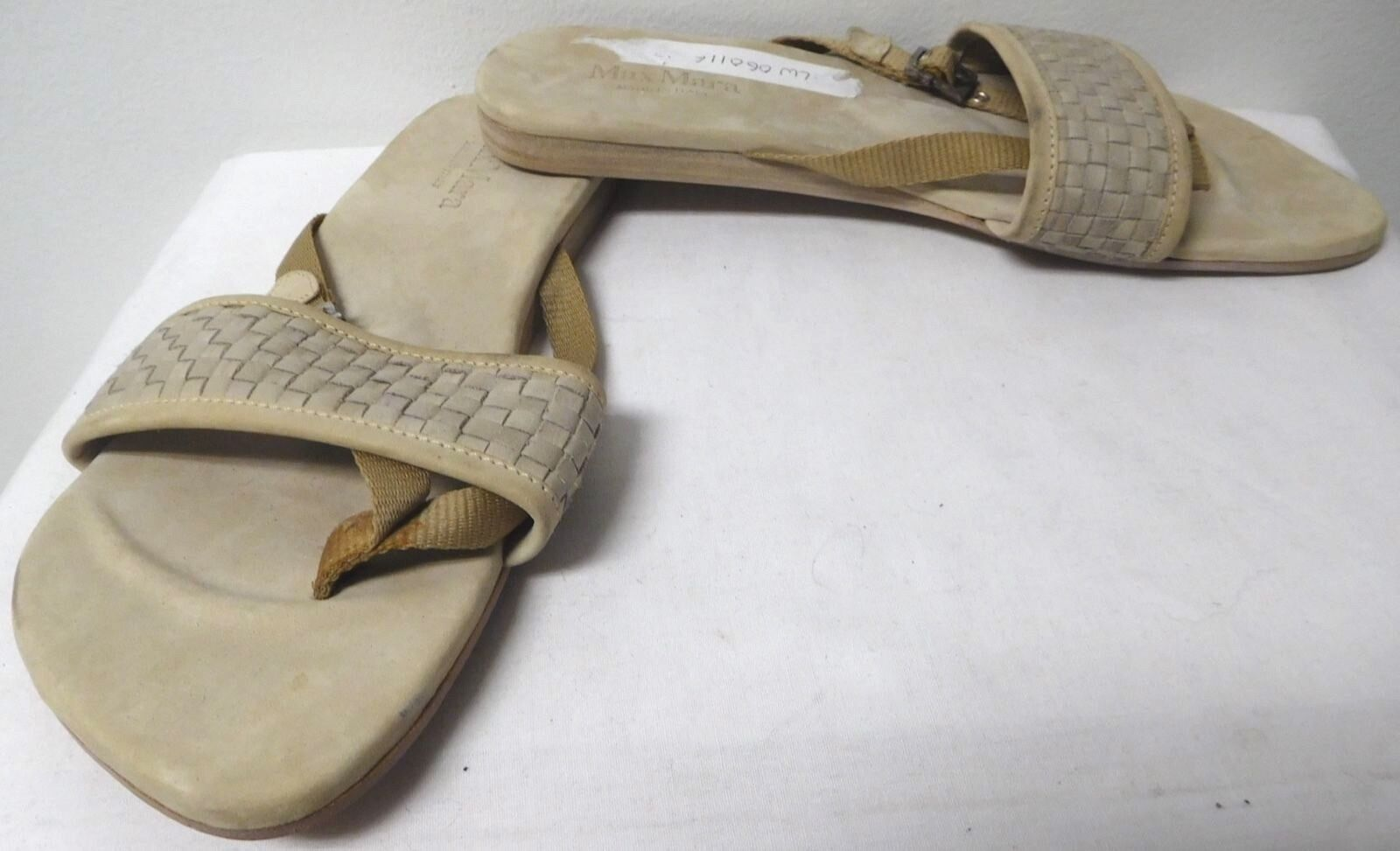 MAX MARA BEIGE TAN SUEDE AND WOVEN LEATHER SANDALS FLIP FLOPS EUR SIZE 37 USA 7