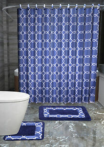 GALAXY NAVY 15PC Complete Bathroom Set Rubber Backing Rug Bath Mats SHOWER