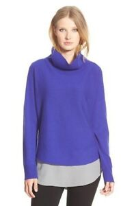 NWT-Eileen-Fisher-Draped-Turtleneck-Sweater-PM-Blue-Violet-Petite-Med