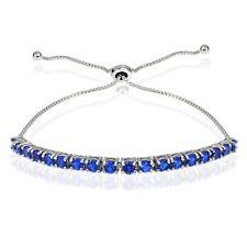Sterling Silver 2ct Created Blue Sapphire Adjustable Bracelet