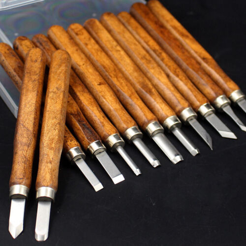 12 Teile Satz Holzschnitzerei Hand Meißel Werkzeug Holzbearbeitung Pro Rillen