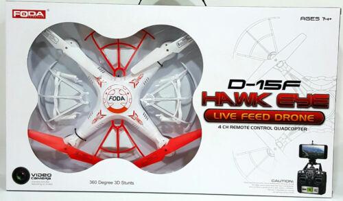 Foda 2.4GHz 4 Channel RC Quadricoptère 6-Axis Gyro avec Caméra En Direct Feed Drone D15F