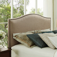 Headboard Upholstered Bed Full Queen Nailhead Head Board Bedroom Frame Furniture