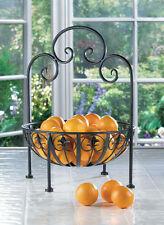 Fleur De Lis Iron Standing Fruit Veggie Bowl Or Kitchen Dining Decor Display New