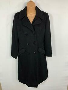WOMENS-BLACK-LONG-LENGTH-SMART-CASUAL-WINTER-BUTTON-UP-OVERCOAT-JACKET-SIZE-8