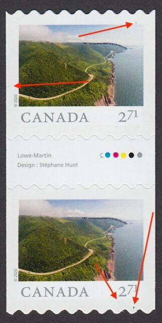 2020  = FREAK/ERROR = FAR AND WIDE = GUTTER pair with #10 stamp - 2.71MNH Canada