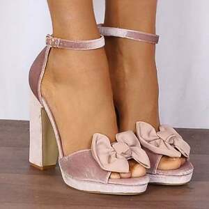 Nude Pink Velvet Bows Barely There Strappy Sandals Platforms Heeled ...