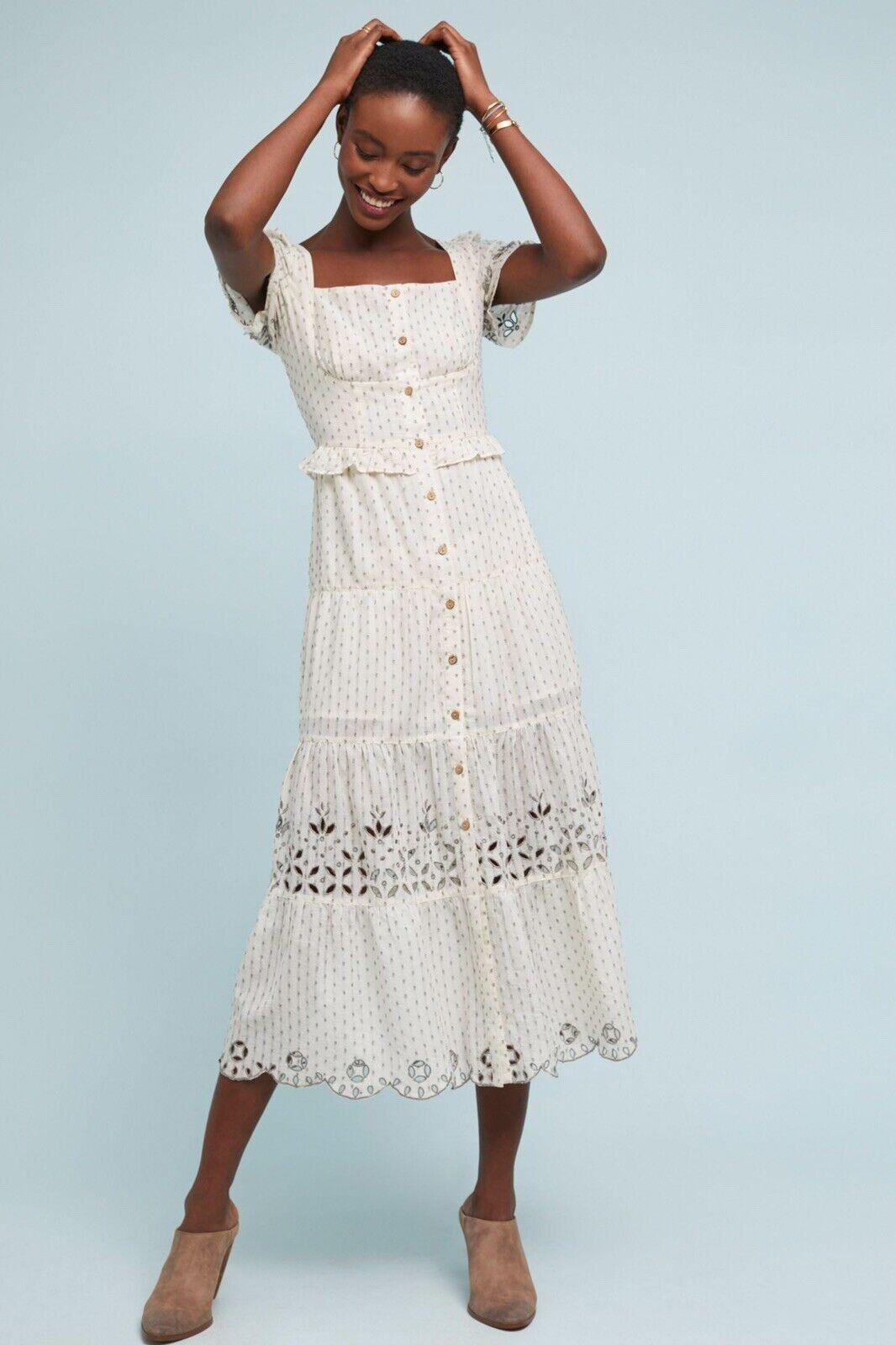 NWT Anthropologie RAHIi Cali Cream Frances Embroiderot Buttondown Dress L