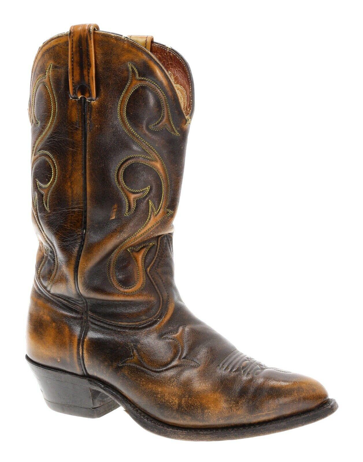 Wicked angustiado marrón Leather Vintage Rockabilly botas De Vaquero Motocicleta 7 Extra Ancho