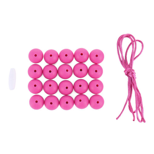 20pcs Chain Baby Teething Necklace Teether Charm BPA-Free Beads Round Silicone