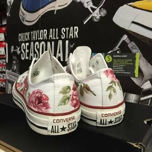 Converse Fiori con Rose Chuck Taylor Basse Bianche Painted Floral Flowers Roses