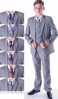 Boys Suits, Wedding Suits, Page Boy Suits Prom, Light Grey, Choose Cravat Colour