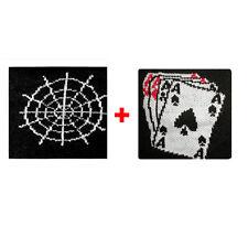 Paar manschetten spinnennetz + karten da spiel in schwamm gruppen rock und flags
