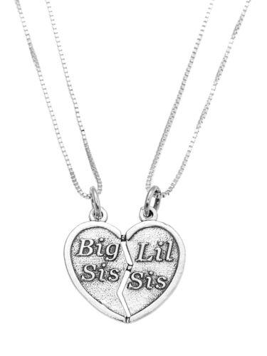 Sterling Silver les Big SIS Lil Sis Coeur Charme Pendentif avec deux boîte de chaîne