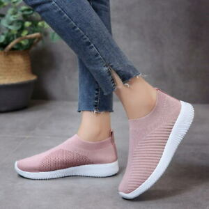 Womens-Sneakers-Knitted-Mesh-Breathable-Casual-Shoes-Walking-Slip-On-Flat-Shoes