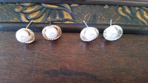 Ohrringe Muschel mit weißer Perle Silber oder Gold Ohrstecker Edel Damen neu