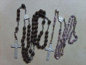 Lot-de-2-anciens-chapelets-rosaires-catholiques-de-37-8-cm-et-33-cm-lot-B36