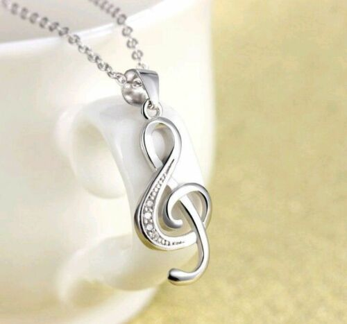 Beautiful Sterling Silver Musical Note Pendant .925 Womens Necklace w// Gift Box