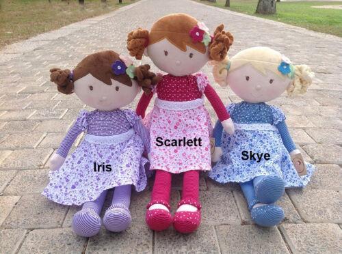 Personalised Embroidered Rag Dolls 42cm Bonikka Birth Gift Present Custom