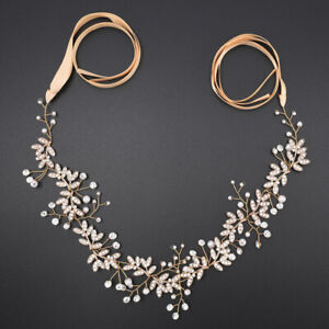 "43"" Long Wedding Hair Vine Crystal Pearl Headband Bridal Accessories Gold"
