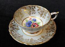 Vintage PARAGON England BONE CHINA Wide TEA CUP & SAUCER A2136 Blue Floral GOLD