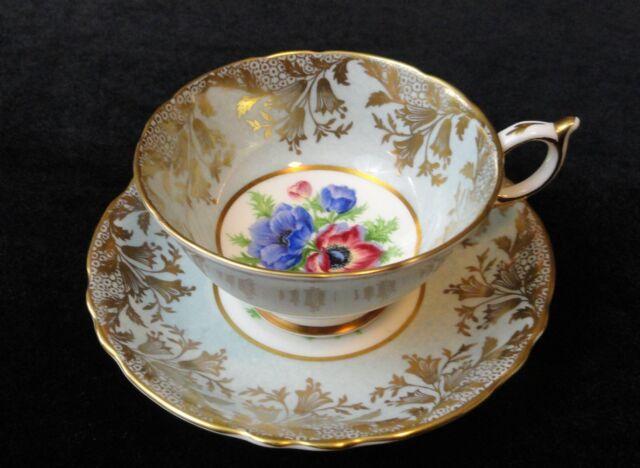 Vintage Paragon England Bone China Tea Cup Teacup Set A2136 Blue Floral w/ Gold