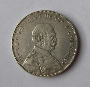 Germany-Silver-Memorial-Medal-Thaler-1894-Wilhelm-II-and-Bismark-by-Lauer-Rare