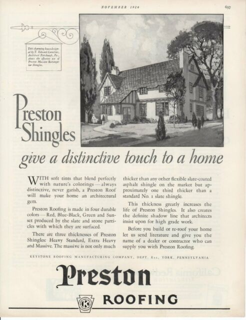 Vintage Print Advertisement Ad 1926 Preston Shingles