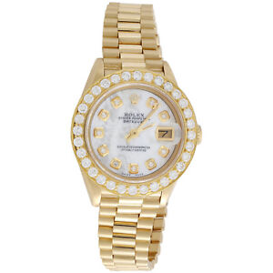 Rolex-18K-Gold-President-26mm-DateJust-69178-VS-Diamond-White-MOP-Watch-1-38-CT