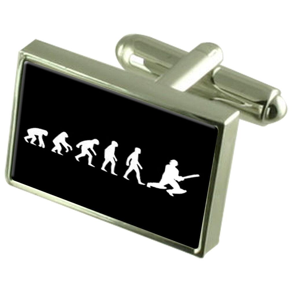 Evoluzione scimmia scimmia scimmia a uomo Cricket Gemelli di cristallo Tie Clip Bar Box Set incisa d6003c