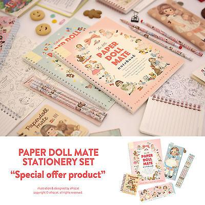 Afrocat Paper Doll Mate Stationery Set Spring Notebook Paper Memo Pencils Case