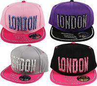 2 Tone Snap Back LONDON Bling Studs Snapback Cap Hat Grey Black Pink Purple