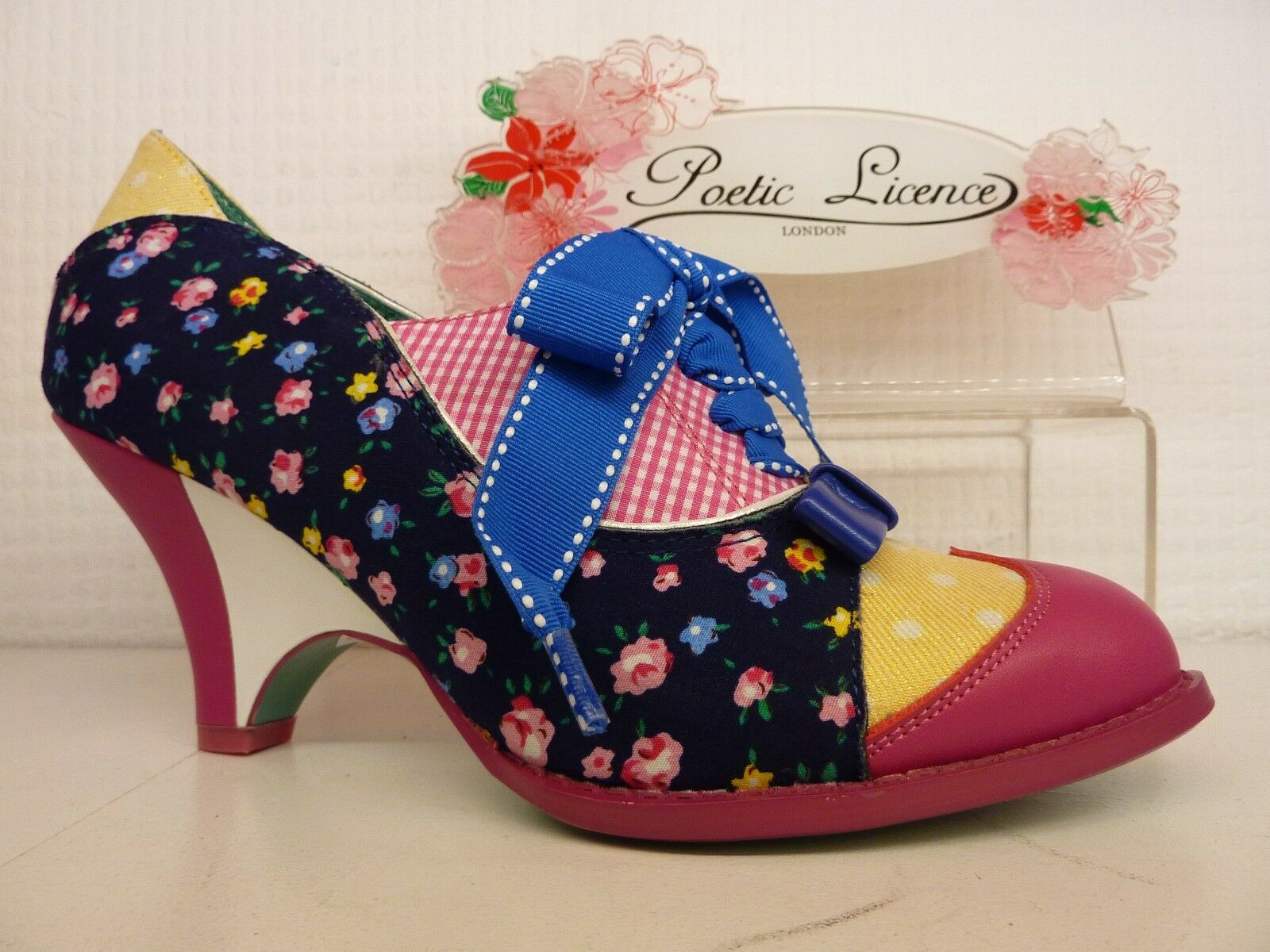 Poetic Licence by Irregular Choice Force of Beauty Beauty Beauty Navy Rosa Heel Lace Up schuhe 0aa9c3