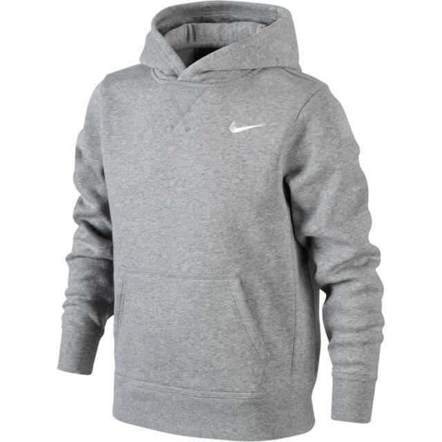 168dbb88a5d Nike Boys Ya76 Brushed Fleece Hoodie - Dark Grey Heather white Medium