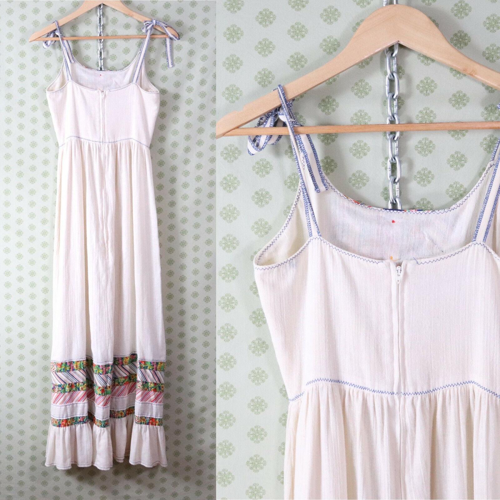 vintage 60s 70s patchwork guaze maxi dress XS pra… - image 4