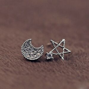 Jewelry-Gift-Crystal-Fashion-Women-Silver-Plated-Zircon-Earrings-Moon-And-Star