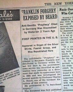Benjamin FRANKLIN PROPHECY Forgery Antisemitic Speech Expose JEWS 1937 Newspaper