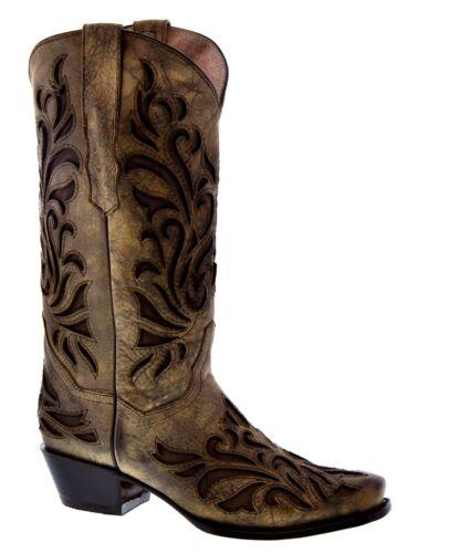 rodeo Distressed teen dames Western Bruine cowboylaarzen lederen overlay echt voor XOwtf8zq
