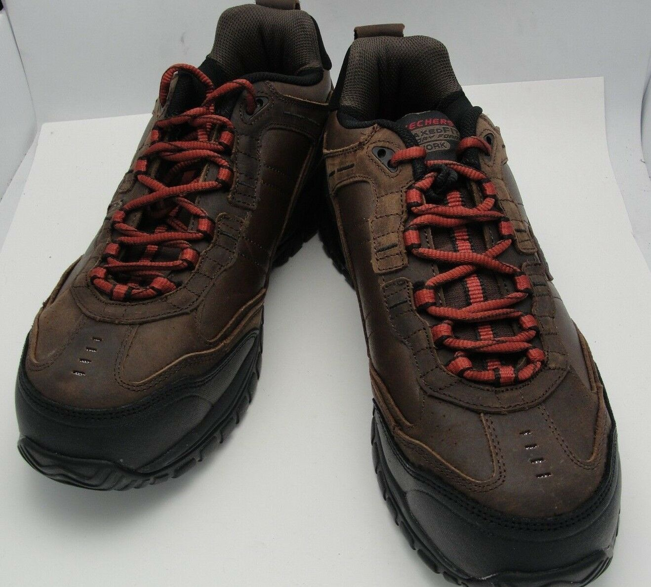 Men Skechers Work Relaxed Fit Memory Foam Steel Toe shoes Brown NWT Sz 11