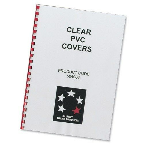 100 CLEAR 150mic A4 BINDING COVERS For Comb or Slide Binders 5 Star SENT FAST
