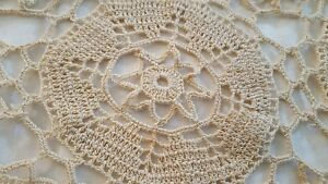 "3 Ecru Hand Crochet Lace Doily Oval Table Runner 19"" X 36"" Floral Pattern vtg"