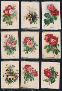 1913-ITC-SC-7-Garden-Flowers-Tobacco-Silks-Red-Numerals-Near-Set-of-39-50