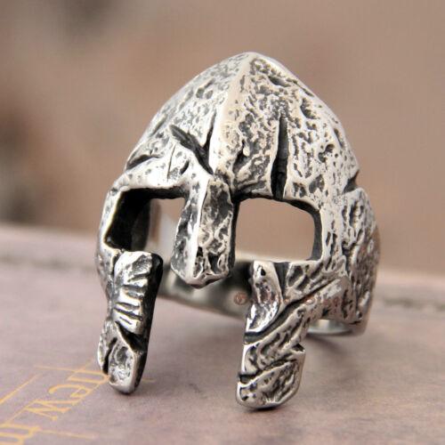 Men Gothic Biker Punk Vintage Spartan Mask Helmet Ring Nordic Pagan Viking Band
