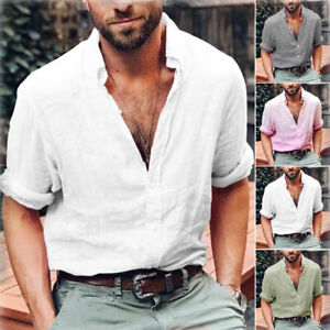 Summer-Mens-Cotton-Blend-T-Shirt-Henley-Tops-Casual-Loose-V-Neck-Long-Sleeve-Tee