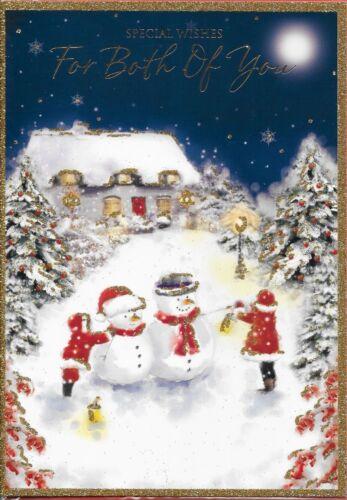 top qualité en relief Vous deux carte de noël C6 bonhomme de neige thème grande carte